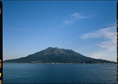 Sakurajima and moon (WilliamJosephJefferson) Tags: provia100f pentax45~85 pentax645 film analog art