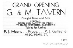 G and M Tavern  140  so. pearl  1933 -opened up immediately after the end of Prohibition (albany group archive) Tags: 1930s pj means p j gallagher bar old albany ny vintage photos picture photo photograph history historic historical