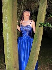 Ballgown smile (Paula Satijn) Tags: girl lady dress gown ballgown satin silk shiny skirt blue garden outside chic classy posh elegant happy smile joy fun peasure girly feminine sparkly beads sweet pretty cute night