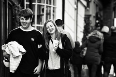 Smiling (Bury Gardener) Tags: monochrome mono burystedmunds bw blackandwhite britain suffolk streetphotography street streetcandids snaps strangers candid candids people peoplewatching folks 2018 nikond7200 nikon england eastanglia uk abbeygatestreet