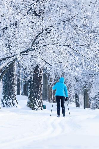 Skiing in city of Kuopio