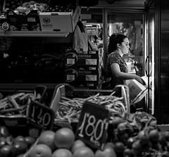 Mercado (Bart van Hofwegen) Tags: market marketvendor commerce sell sales selling vegetables fruit stall dark woman vendor monochrome blackandwhite mercadoatarazanas mercadocentralatarazanas mercado