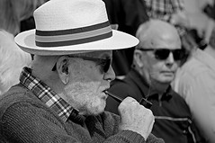 A face in the crowd No 19. (Robertinsco) Tags: pipesmoker candidphotography candidstreetphotography candidmonochrome candid candidportrait candidblackwhite blackwhite blackandwhite blackwhitephoto blackwhiteportrait gx8 lumixgvario45150f4056