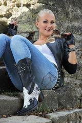 Anna 123 (The Booted Cat) Tags: sexy blonde model girl tight blue jeans leather cowboyboots cowgirl boots jacket gloves