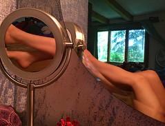 Get a leg up (SolsticeSol) Tags: self legs pilates mirror bedroom barelegs feet barefeet pretty woman tan