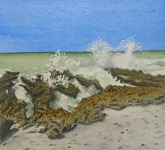 Wave, by Ana Paula P.G. - DSC04324 (Dona Minúcia) Tags: art painting watercolor lansdscape seascape wave rock sand sky arte pintura aquarela onda pedra praia beach mar sea céu paisagem