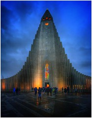 Hallgrímskirkja Church (Andy Stones) Tags: iceland reykjavik parish church churchtower religion religiousbuilding lutheran landmark expressionist architecture cloud rain weather