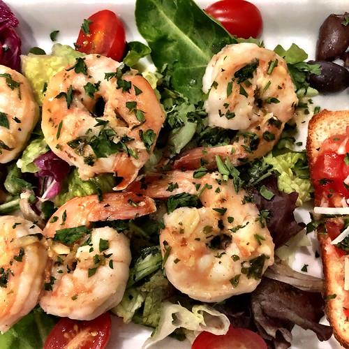 Grilled shrimp on salad