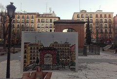 He saw her for the fist time here -eight years ago: (aniuswalker) Tags: madrid plazadosdemayo square watercolor urbansketcher urbansketch sketch watercolorart madridurbansketch
