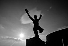The Citadella, Budapest, Late Afternoon (The_Kevster) Tags: budapest hungary europe centraleurope magyar eu nikon nikond7000 dslr capital danube monochrome bw blackandwhite sun light shadow glare statue sculpture citadella buda clouds