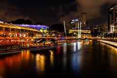 Long exposure (Thanathip Moolvong) Tags: singapore river read bridge night long exposure clarke quay