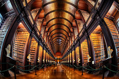 The Long Room Wide Angle View (lfeng1014) Tags: thelongroomwideangle thelongroom thebookofkells oldlibrary trinitycollege dublin ireland republicofireland marblebusts bookcases books darkoakbarrelceiling structure architecture canon5dmarkiii ef815mmf4lfisheyeusm fisheye travel lifeng light