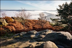 View from Stanton moor (G. Postlethwaite esq.) Tags: birchover derbyshire ribercastle stantonmoor bracken fog landscape mist outdoor photoborder rocks trees