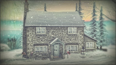 *There's no place like home for the holidays* ❤ (Ⓐⓝⓖⓔⓛ (Angeleyes Roxley)) Tags: what next home holidays winter sl secondlife gacha mainstore bike cottage mailbox doormat snowman bench decor