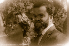 Back to the future (srkirad) Tags: portrait wedding friends oldphoto sepia retro ancient beard glasses bride groom noisy filmgrain grainy