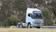 VOLVO Each Way (3/4) (Jungle Jack Movements (ferroequinologist)) Tags: volvo bowning nsw new south wales kw hp horsepower big rig haul haulage freight cabover trucker drive transport carry delivery bulk lorry hgv wagon road highway nose semi trailer deliver cargo interstate articulated vehicle load freighter ship move roll motor engine power teamster truck tractor prime mover diesel injected driver cab cabin loud rumble beast wheel exhaust double b grunt fh 16 fm linfox toll globetrotter