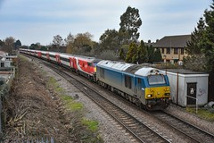 67003 + 82216 + 91116 - March West Junction - 05/01/19. (TRphotography04) Tags: db cargo uk atw blue drags an lner dvt 82216 past march west junction working diverted 1e02 0548 edinburgh london kings cross engineering works had been taking place ecml between hitchin peterborough subsequently grand central hull trains were via ely cambridge 67003 91116
