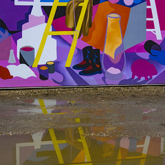 A Puddle of Colour... (Mister Day) Tags: puddle art whyte ave strathcona edmonton alberta