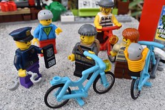 Breaking News: Bike Thieves arrested! (mrjustin412) Tags: lego legos city bikes bicycles thieves police arrest story news town outside stone