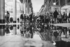 watch your step (Zesk MF) Tags: bw black white reflection mono spiegelung street cologne zesk x100f fuji puddle water wasser human people candid