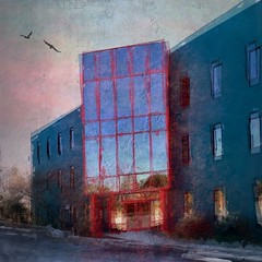 Sunset (TAWPhotoArtistry) Tags: ipadpainting digitalart building architecture red blue sunset art photoart photoartistry handheldartgroup netartii