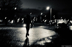 Walking down the street at night. The whole world just comes alight (Moby) [17/365] (stef demeester (sometimes off)) Tags: amersfoort bw blackandwhite fujix100f fujifilmx100f monochrome silhouette stefdemeester straatfotografie streetlife streetphotography urban x100f zwartwit