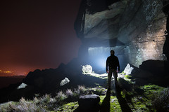 Tei on the Edge (Waving lights in the dark) Tags: night nightphotography afterdark howling gale blowing stanage edge stanageedge peak peakdistrict derbyshire still silhouette rocks rock crag mist lightpainter
