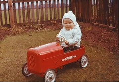 Graeme in pedal car 1966 (georgeartp) Tags: triang 1966 pedalcar ferraniacolor