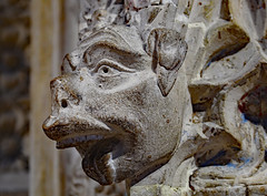 Choir screen grotesque head sculpture, c1335 - Lincoln Cathedral, England. (edk7) Tags: olympuspenliteepl5 edk7 2016 uk england lincolnshire lincoln lincolncathedral cathedralchurchoftheblessedvirginmaryoflincoln stmaryscathedral englishdecoratedgothic cathedral church choirscreengrotesqueheadsculpturec1335 sculpture stonecarving architecture building oldstructure gradeilisted art atrwork medieval artwork