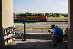 Old Man (Re-Processed) (Ryan J Gaynor) Tags: burlingtonnorthernsantafe bnsf lajunta colorado photography people coffee candid coaltrain usa railroad railfan railway railroading train oldman