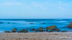 Blue misty water (Peter.Stokes) Tags: australia australian awayfromitall beach birds boat boats colour colourphotography fauna flying flyingfoxes landscape nature newsouthwales photo photography saltwater sand sea sky vacations landscapes outdoors summer