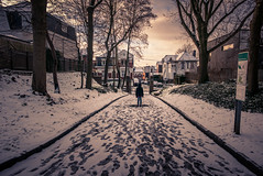 Strange Snow (Gilderic Photography) Tags: neige chartreuse liege belgium belgique snow girl city urban winter strange light alley silhouette