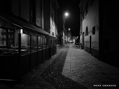 Closed for the Night (mswan777) Tags: stone urban white black monochrome mobile iphone iphoneography apple closed empty travel italy varese light night outdoor cityscape city cafe street