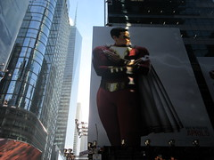 Shazam The Big Red Cheese Billboard 42nd St NYC 3798 (Brechtbug) Tags: shazam billboard 42nd street new captain marvel the big red cheese poster ad nyc 2019 times square movie billboards york city work working worker paint painting advertisement dc comic comics hero superhero alien dark knight bat adventure national periodicals publication book character near broadway shield s insignia blue forty second st fortysecond 03142019 lightning flight flying march