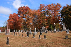 Old Gravestones and Autumn Color, Liberty Church Cemetery - East of Orleans in Orange County, Indiana (danjdavis) Tags: gravestones tombstones cemetery libertychurchcemetery orangecounty indiana autumncolor fallcolor