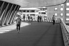 "Bilbao Bridge (Bruce Poole) Tags: bruce poole brucesspace otherkeywords mono monochrome blackandwhite streetphotography promenade bilbao basquecountry basque escudi pont lightandshade urban city town ""builtuparea"" urbano urbain stadtisch cite ville ciudad stadt citta"