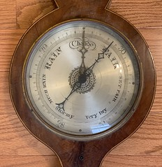 Spring Equinox - old barometer says the weather will be fair. Maybe spring will arrive after all. (remiklitsch) Tags: iphone remiklitsch newhouse movingday sister vintage tool wood antique seasons spring barometer
