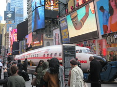 2019 Celebration of Retro TWA Hotel - Wingless Plane Times Square 4490 (Brechtbug) Tags: 2019 celebration retro twa hotel brooklyn wingless 1958 lockheed constellation connie l1649a starliner airplane visits times square before heading trans world airlines new yorks john f kennedy international airport known york anderson field commonly idlewild city march 23rd nyc 02232019