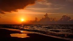 Liquid Gold (endresárvári) Tags: sea sun sunset summer evening canon sardinia gold orange cloud clouds italy holiday waves