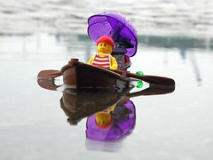 We're all in the same boat (captain_joe) Tags: toy spielzeug 365toyproject lego series14 minifigure minifig zombie pirat pirate cutlass boat boot puddle pfütze reflection
