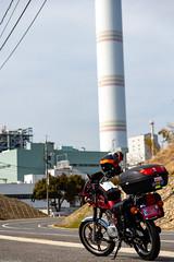 大崎発電所の前 (mayuri041) Tags: 大崎上島 gn125h motorcycle オートバイ