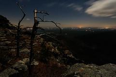 Short Off Mountain Nightscape (R. Keith Clontz) Tags: linvillegorge night citylights graggytrees moonlight shortoff mountain cliff catawbavalley northcarolina keithclontz