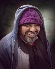 Fante (mckenziemedia) Tags: knit hat warm clothing jacket face winter coat outerwear man portrait portraiture homeless homelessness goatee smile laugh chicago urban city street streetphotography