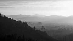 Santiago On Fire (FISF VE) Tags: fire hill santiago south southamerica chile city ciudad smog summer sunset white black geography valley monocromático cielo montaña neblina paisaje landscape