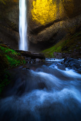 Latourell Glow (AirHaake) Tags: water waterfall waterfalls oregon latourell latourellfalls lowerlatourellfalls columbiarivergorge light atmosphere blue yellow