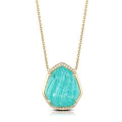 Bottom Heavy 18k Yellow Gold Diamond Necklace With Clear Quartz Over Amazonite (diamondanddesign) Tags: bottomheavy18kyellowgolddiamondnecklacewithclearquartzoveramazonite n6829aza 18k yellow gold amazon breeze doves 034 ct necklaces diamond clear quartz over amazonite front