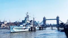 River Thames past London Bridge (marc.barrot) Tags: londonbridge urbanlandscape uk se1 london thequeen'swalk londonbridgecitypier toweroflondon towerbridge hmsbelfast riverthames
