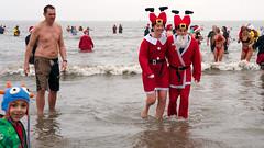 Porthcawl - Christmas Day 2018 5 (stevedexteruk) Tags: porthcawl christmas xmas christmasday christmasswim swim 2018 wales sandybay coneybeach costume fancydress seaside beach sea santa