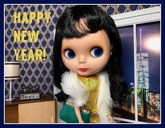 Happy New Year! (Foxy Belle) Tags: doll blythe goldie bl boggled stock apartment ny city diorama gold card new year holiday stereo lamp mattel modern cabinet credenza window fur stole purse