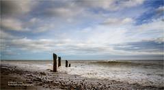 Atherington Beach (rick hathaway photography) Tags: rhfo2o canon canoneos7d elmer elmersands beach sea seaside sky sand waves horizon seadefences sun clouds